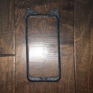 Accessories - iPhone 6/6s black glitter cat ear phone case